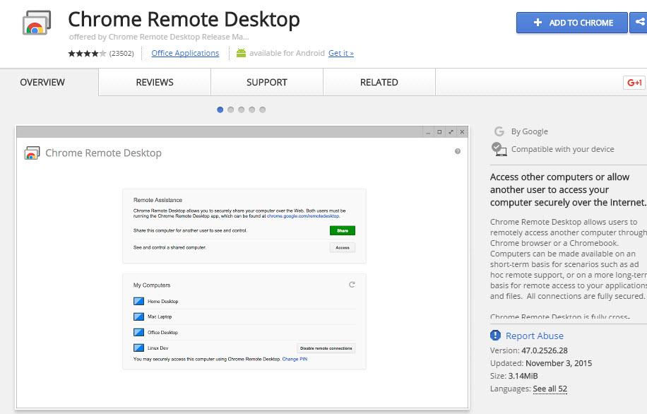 Chrome Remote Desktop Software