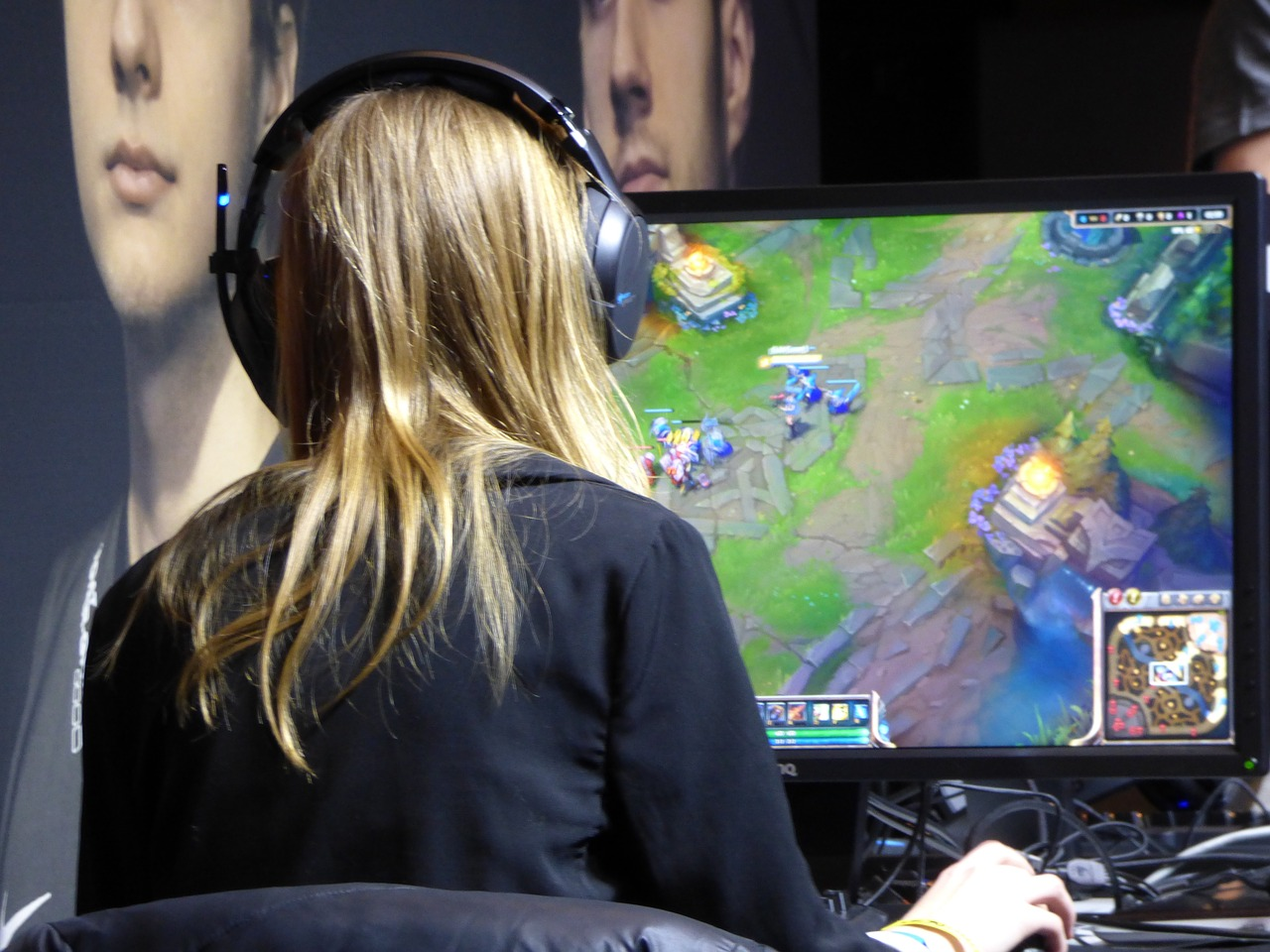 Blonde Girl Playing PC Game